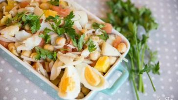Receita de Salada de Bacalhau com Grão deliciosa