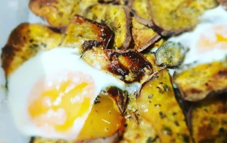 Batata Doce no forno com ovos